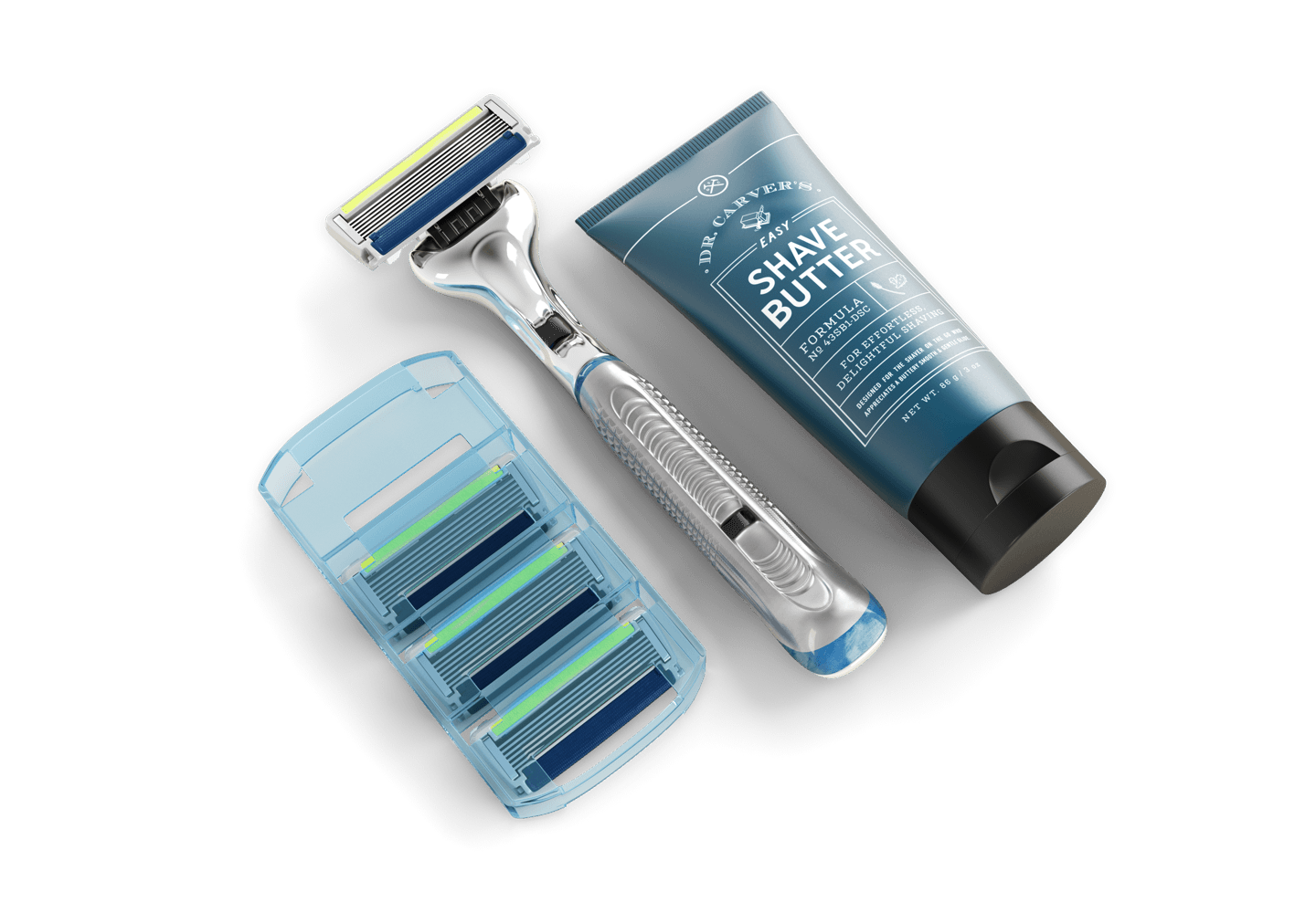 Dollar Shave Club's £5 starter set, consisting of three razor heads, a razor handle, and a tube of shave butter
