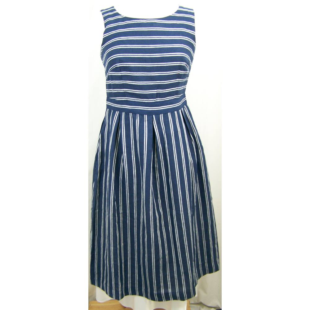 Monsoon Sleeveless Linen Dress in Navy and Blue Stripes