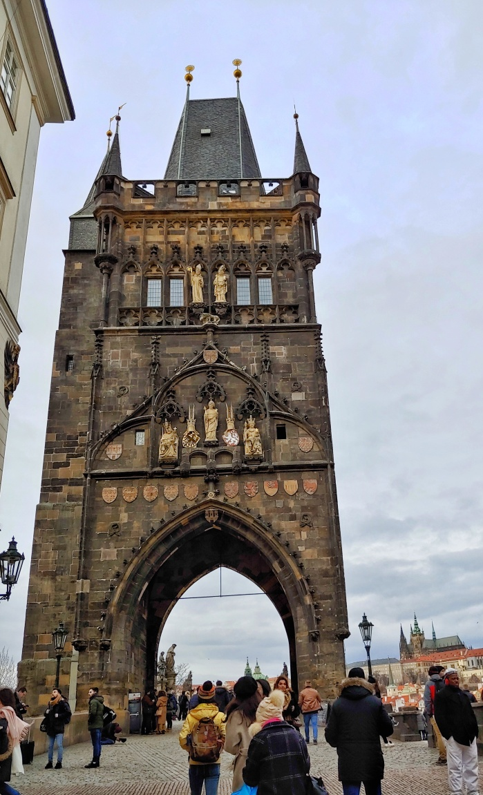 View of Charles Bridge Old Town Tower from the Old Town side.
