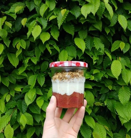 Jam jar with a layer of rhubarb compote, yogurt, and granola, in front of a green beech tree hedge.