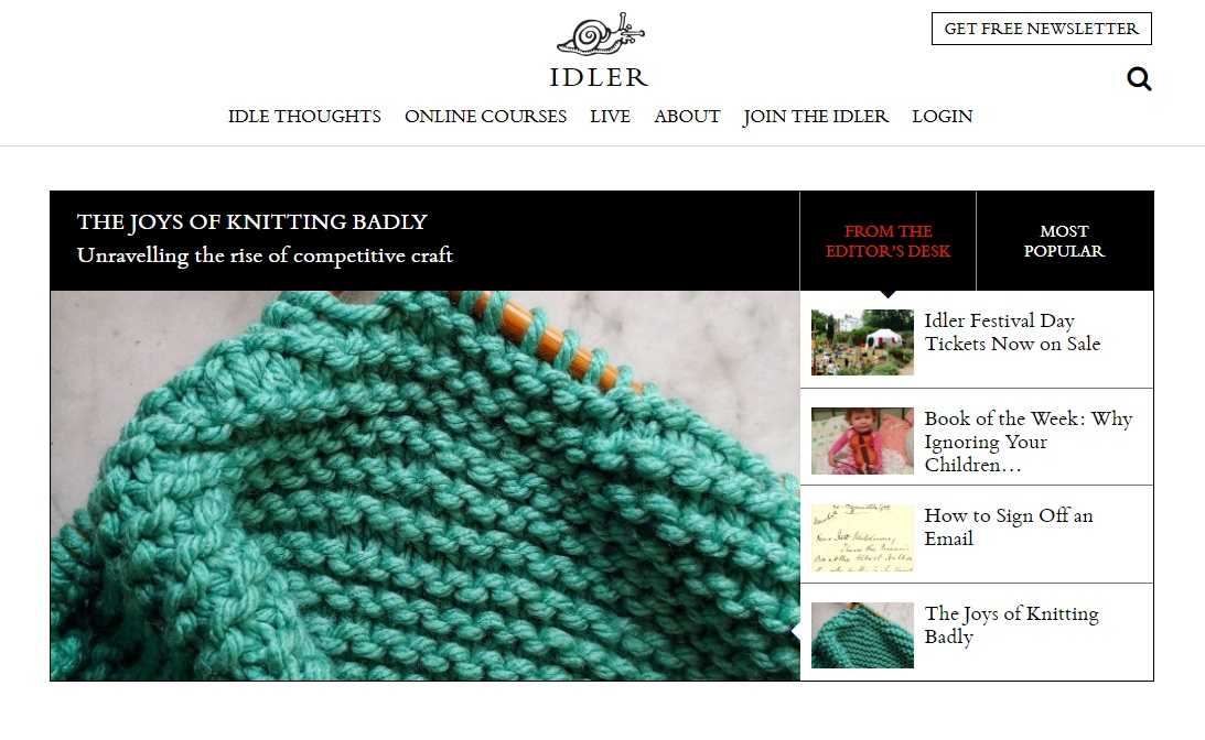 Screen shot of the Idler website featuring the highlighted piece 'The Joys of Knitting Badly'
