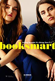 Poster for the film 'Booksmart', with two teenage girls sitting with their arms crossed on their knees