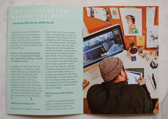 Image of the leaflet, with interview page and photo of Jack Carter drawing