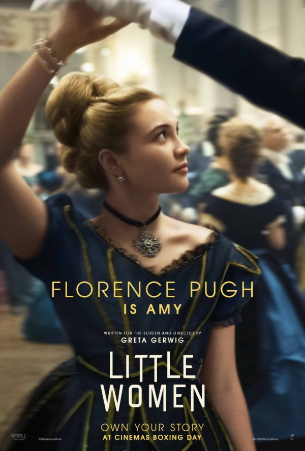 Post of Amy dancing in a dark blue ball gown with the text 'Florence Pugh is Amy' in gold over the top.