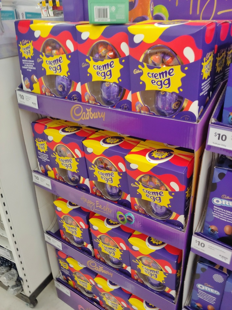 Image of a stack of Cadbury's Creme Eggs Easter eggs.