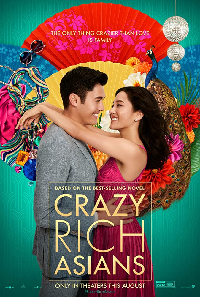 Poster with Constance Wu and Henry Golding with their arms around each other and colourful fans in the background