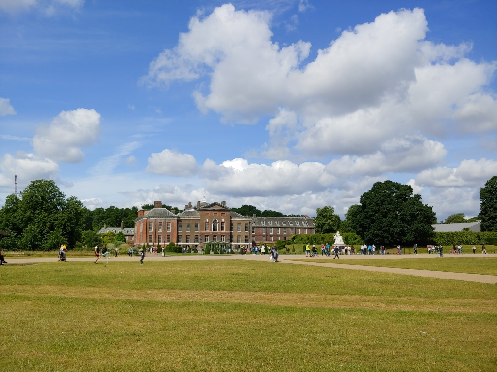 Kensington Palace viewed from the gardens in Hyde Park, Summer 2019