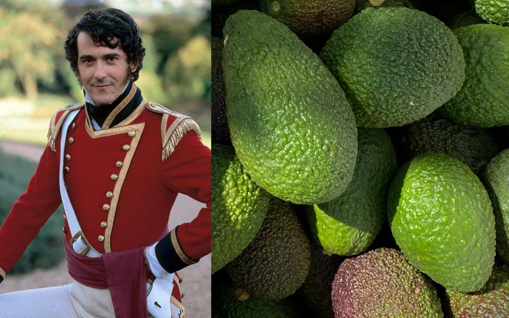 Adrian Lukis in military uniform as George Wickham on the left and a close-up of Hass avocados on the right