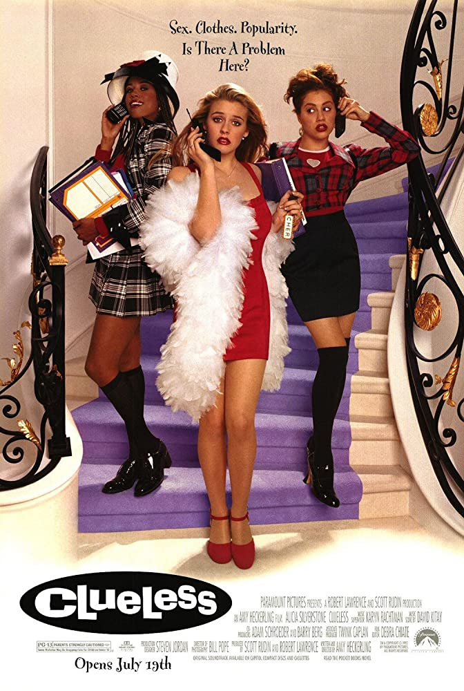 Clueless poster with three women standing on a staircase on mobile phones.