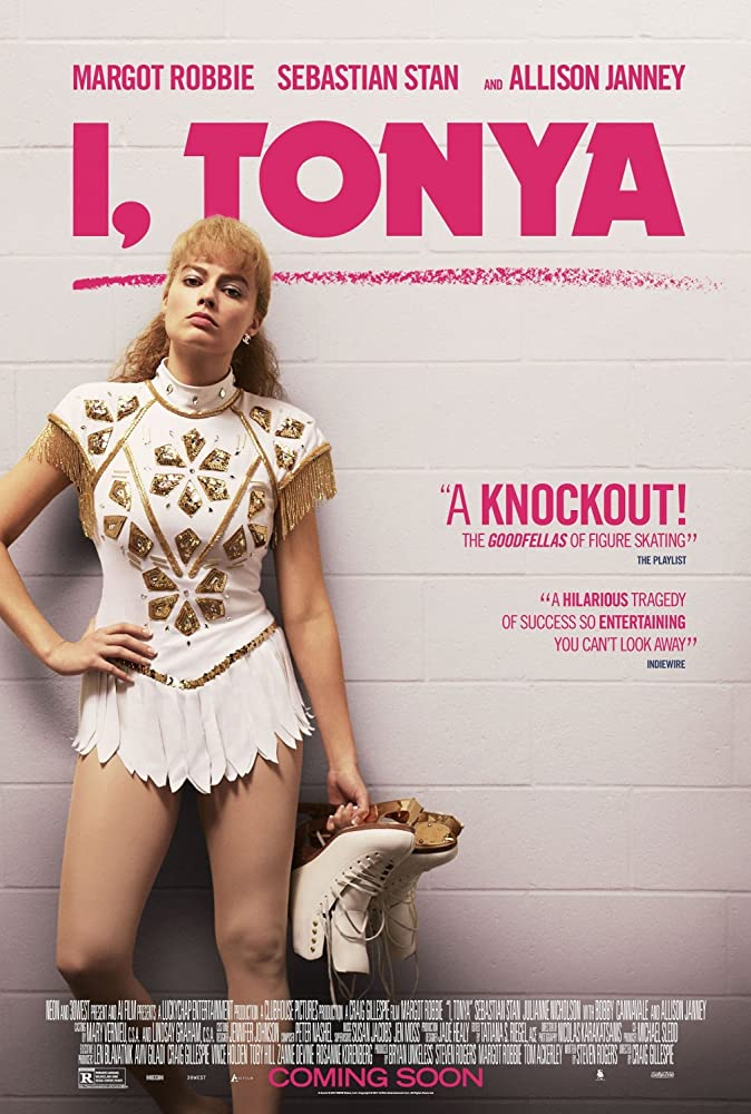 Poster for I, Tonya movie with Margot Robbie as Tonya Harding in a white and gold figure-skating costume, holding her skates, with a confrontational expression.
