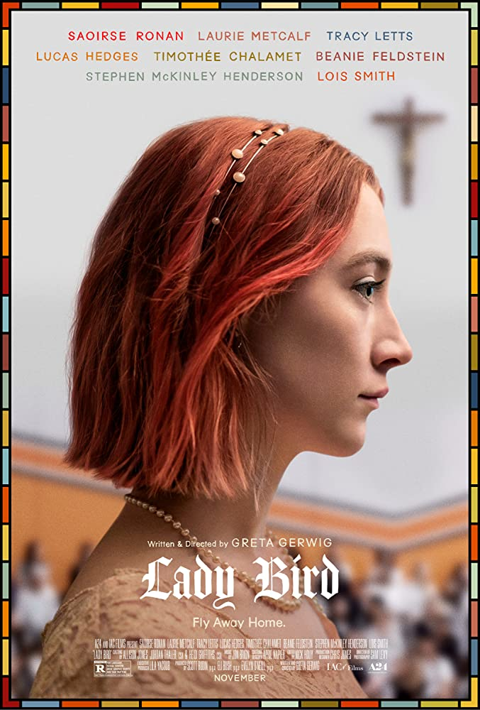 Lady Bird poster, with profile shot of Saoirse Ronan with short pinkish-red hair, wearing a pearl necklace and lace dress.