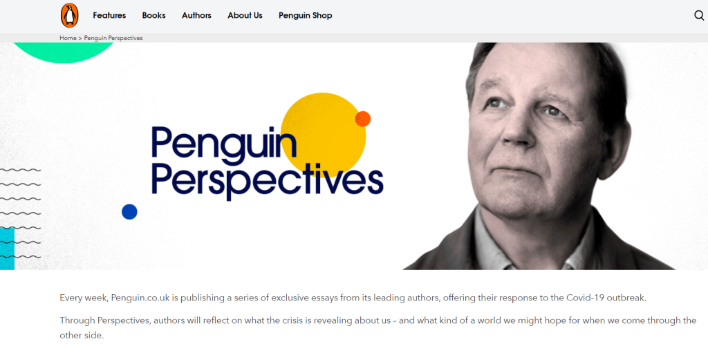 Screenshot of the Penguin Perspectives website, with a photograph of Michael Porpurgo and abstract shapes in multiple colours.