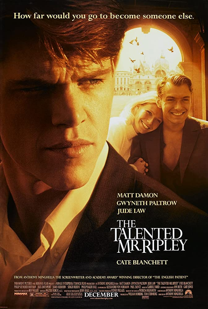 The Talented Mr Ripley poster in sepia tones, with a close up of Matt Damon in the foreground and Jude Law and Gwyneth Paltrow in the background.