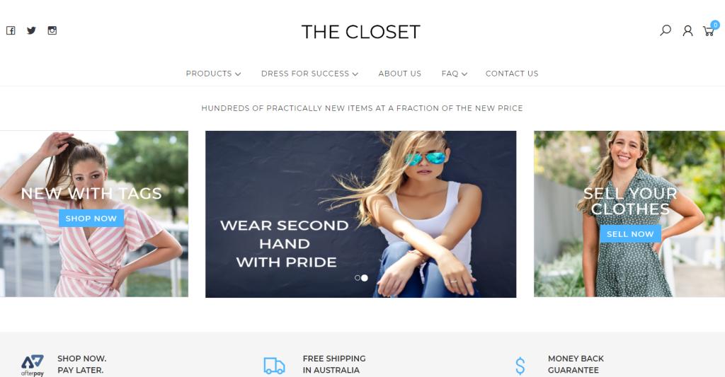 Screenshot of The Closet's website homepage.