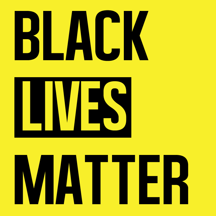 Black Lives Matter Logo, the words 'Black Lives Matter' in capital letters on a yellow background.