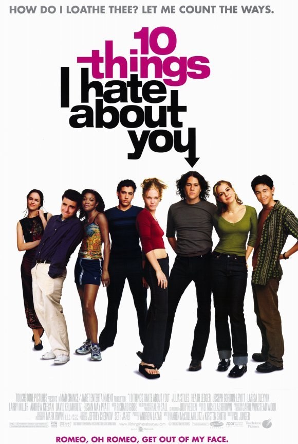 Movie poster for 10 Things I Hate About You with the cast lined up against a white background looking out at the camera.