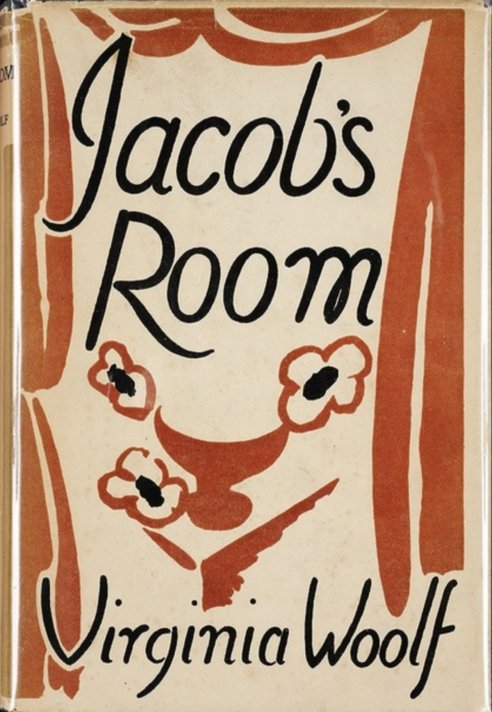 Brown and beige book cover with an abstracted painting of a vase of flowers and curtains, with the title and author in a large, handwritten looking black font.