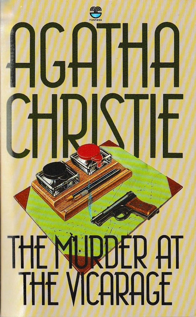 Book cover showing a desk pad with writing two ink pots and two pens, and a smoking pistol, with the author name and title over the top in a large, art deco font.