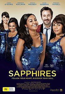 Film poster for the Sapphires with four women in blue sequin dresses and Chris O'Dowd in a red suit in the background.