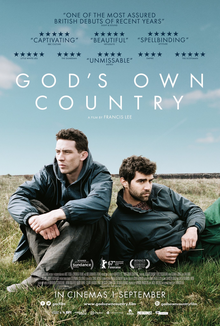 Film poster for God's Own Country, with Josh O'Connor sat cross legged with his arms on his knees, and lying down next to him
