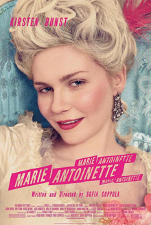 Film poster for Marie Antoinette, with Kirsten Dunst in the title role.  A close up of her face, with the typical hairdo, and bright jeweled earrings.