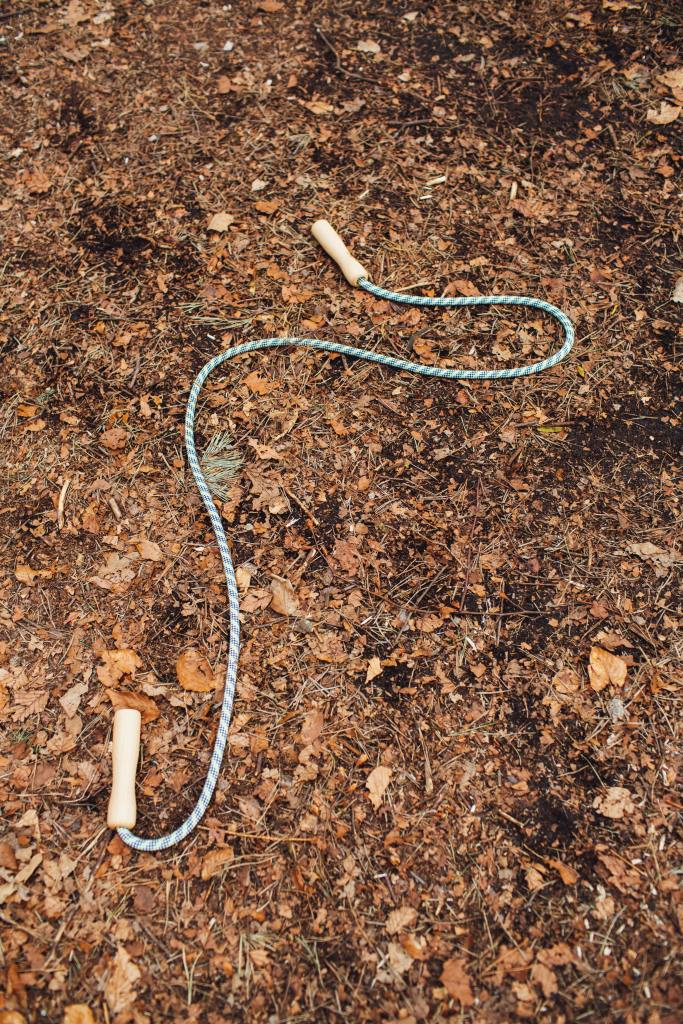 A skipping rope with wooden handles on a background of fallen leaves.