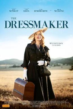 Film poster for The Dressmaker, with Kate Winslet in  a 1950s dress carrying a sewing machine, and the Australian countryside behind her.