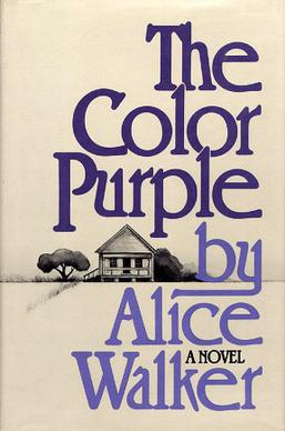 Book cover with The Color Purple by Alice Walker in two purple fonts, with a black and white drawing of a small house next to a tree in the background.